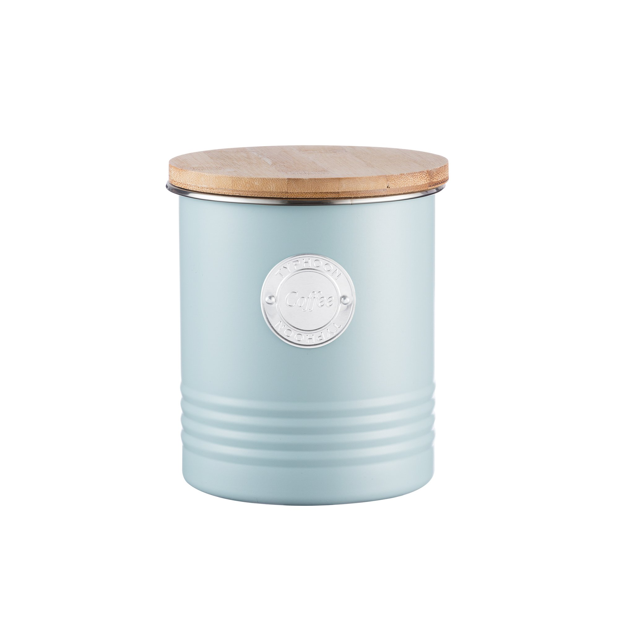 Typhoon Living Blue Coffee Canister, Airtight Bamboo Lid, Durable Carbon Steel Design with a Hard-wearing Matte Coating, 33-3/4-Fluid Ounces