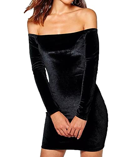 LILY ROSIE GIRL Women's Velvet Off Shoulder Evening Dress Sexy Club Party Bodycon Mini Dresses