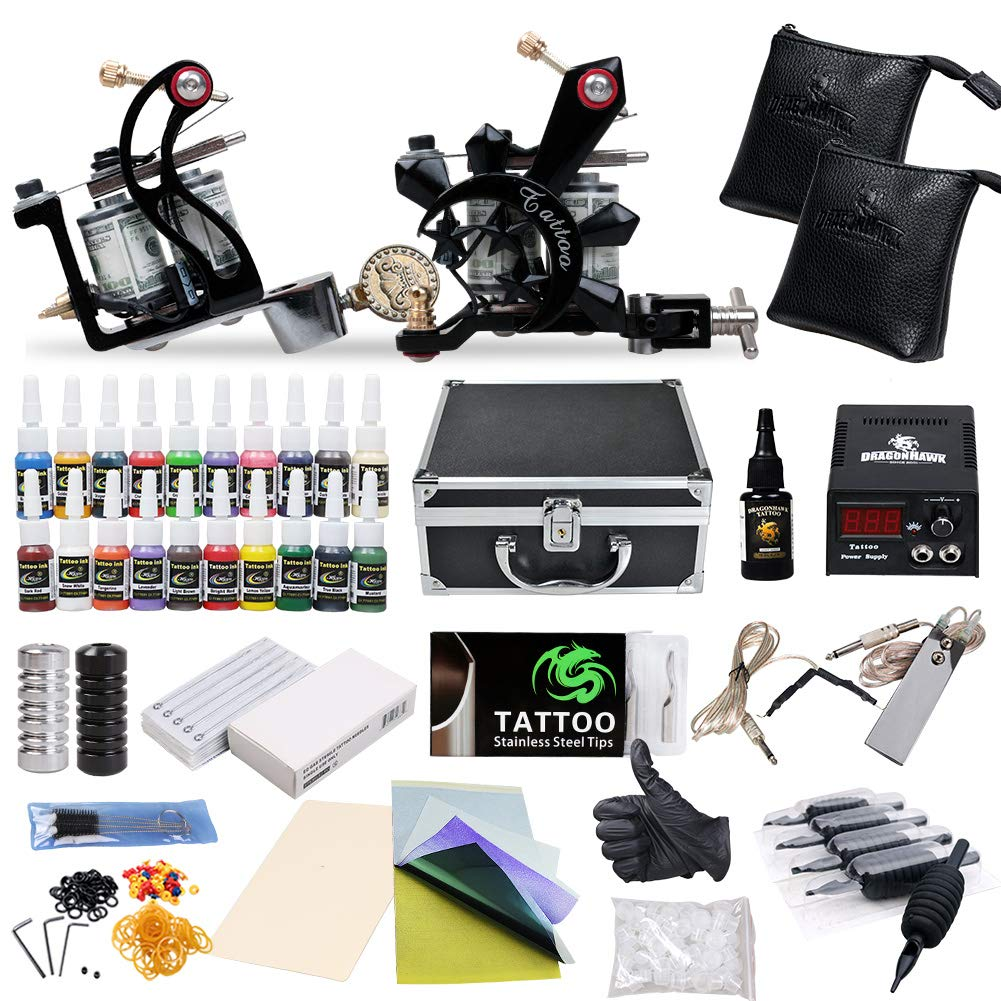 Complete Tattoo Starter Kit 2 Guns Supply Set Equipment D10 24