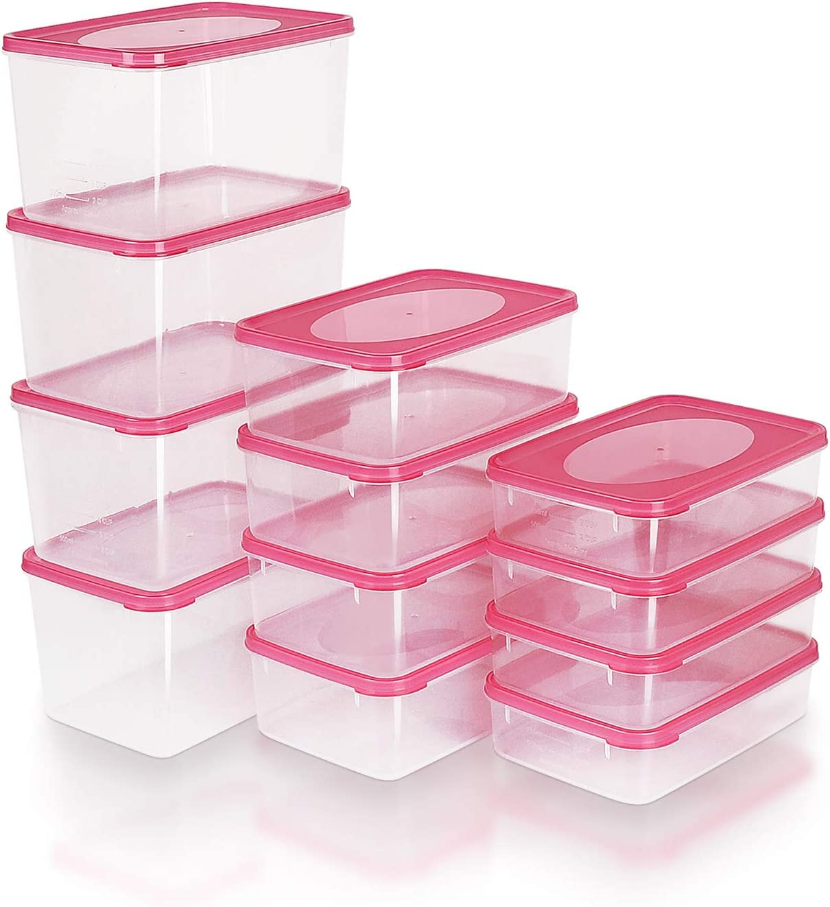 Mengico Food Storage Containers With Lids, Plastic Food Containers Meal Prep, BPA-free, Pink,Set of 12 (24 Pieces Total),