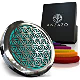 "Car Essential Oil Diffuser by Anzazo - 1.5"" Magnetic Locket Set with Air Vent Clip - Best for Aromatherapy - Fragrance Air Freshener, Scents Diffusers - Sacred Geometry Jewelry for Car, Flower of Life"