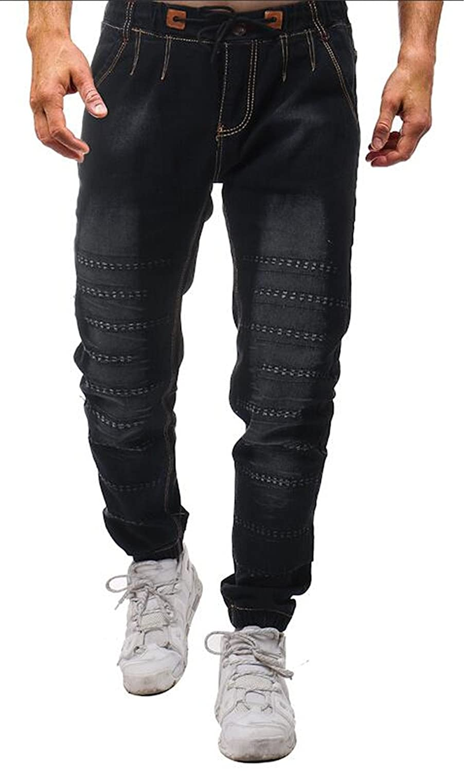 Pivaconis Mens Fashion Ripped Jeans Distressed Holes Denim Pants Trousers