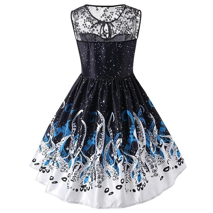 TUDUZ Damen Retro Spitze Armelloses Abend Party Kleid Vintage ...