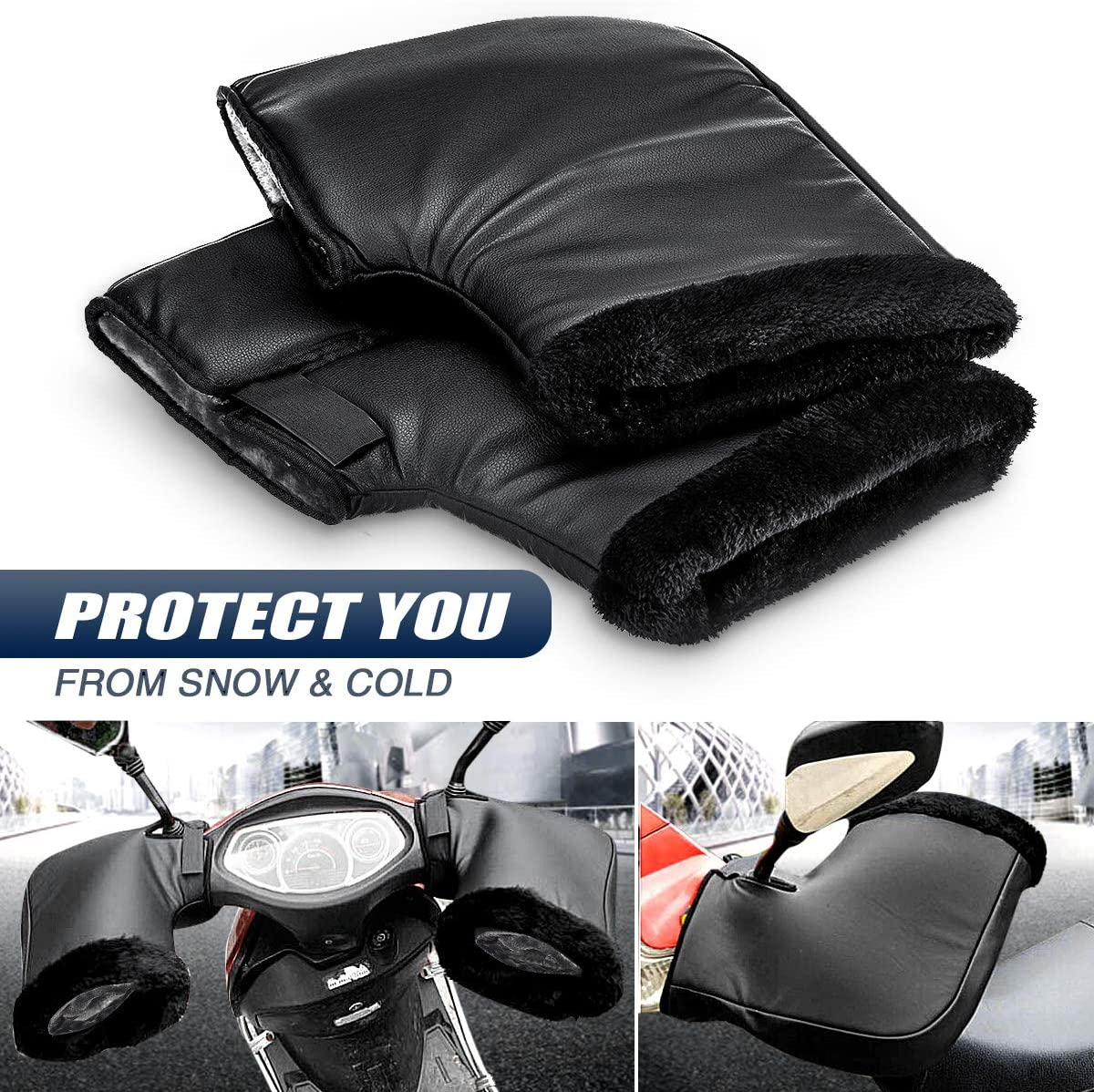 MOTORBIKE MOTORCYCLE THERMAL FLEECE HANDLE BAR WARM MUFFS HAND PROTECTION GLOVES