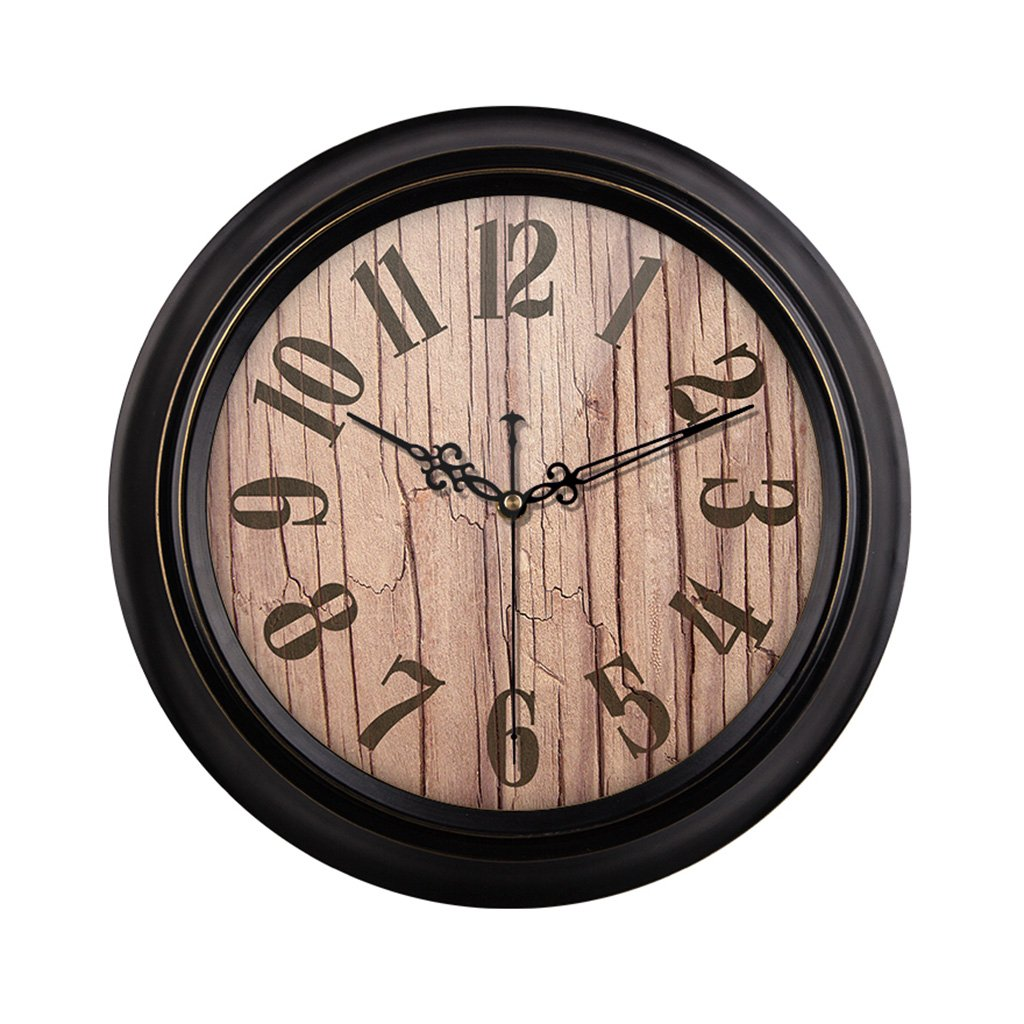 HAOFAY Mute Wall Clock, Vintage Pattern Arabic Numerals Round Clock (vintage) ( Size : 16 inches/40 cm )