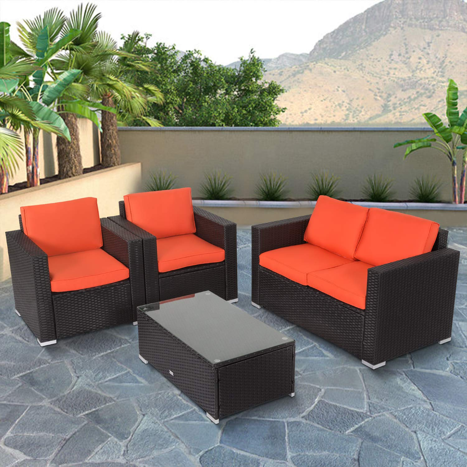 Amazon com kinbor new 4 pcs rattan patio outdoor furniture set garden lawn sofa sectional set black orange 4pcs garden outdoor