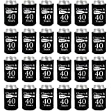 Shop4Ever Cheers & Beers to 40 Years Can Coolie Birthday Drink Coolers Coolies Black - 24 Pack