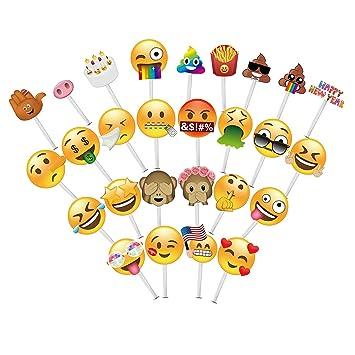 MotGlobal 28 Piezas Emoji Cabina de Fotos Atrezzo DIY Kit Favores Artículos de Fiesta Para las 2018 Partes (28pcs, New Emoji): Amazon.es: Hogar