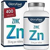 Zinc 25mg 400 Tabletas - Alta dosificación y vegano - 25 mg de Zinc elemental procedente de gluconato de zinc puro para…