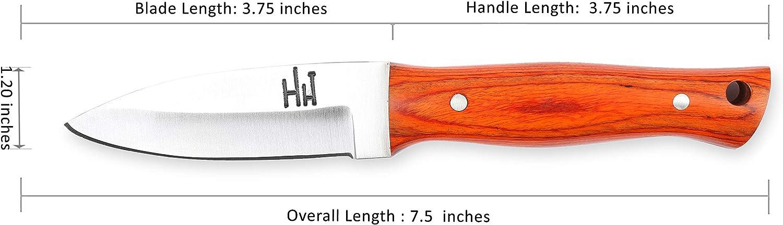 Extra Scharf lederscheide Hobby Hut HH-320,Custom Handgemachtes Jagdmesser mit Scheide feststehende Messer Fixed Blade Messe f/ür Camping Jagd