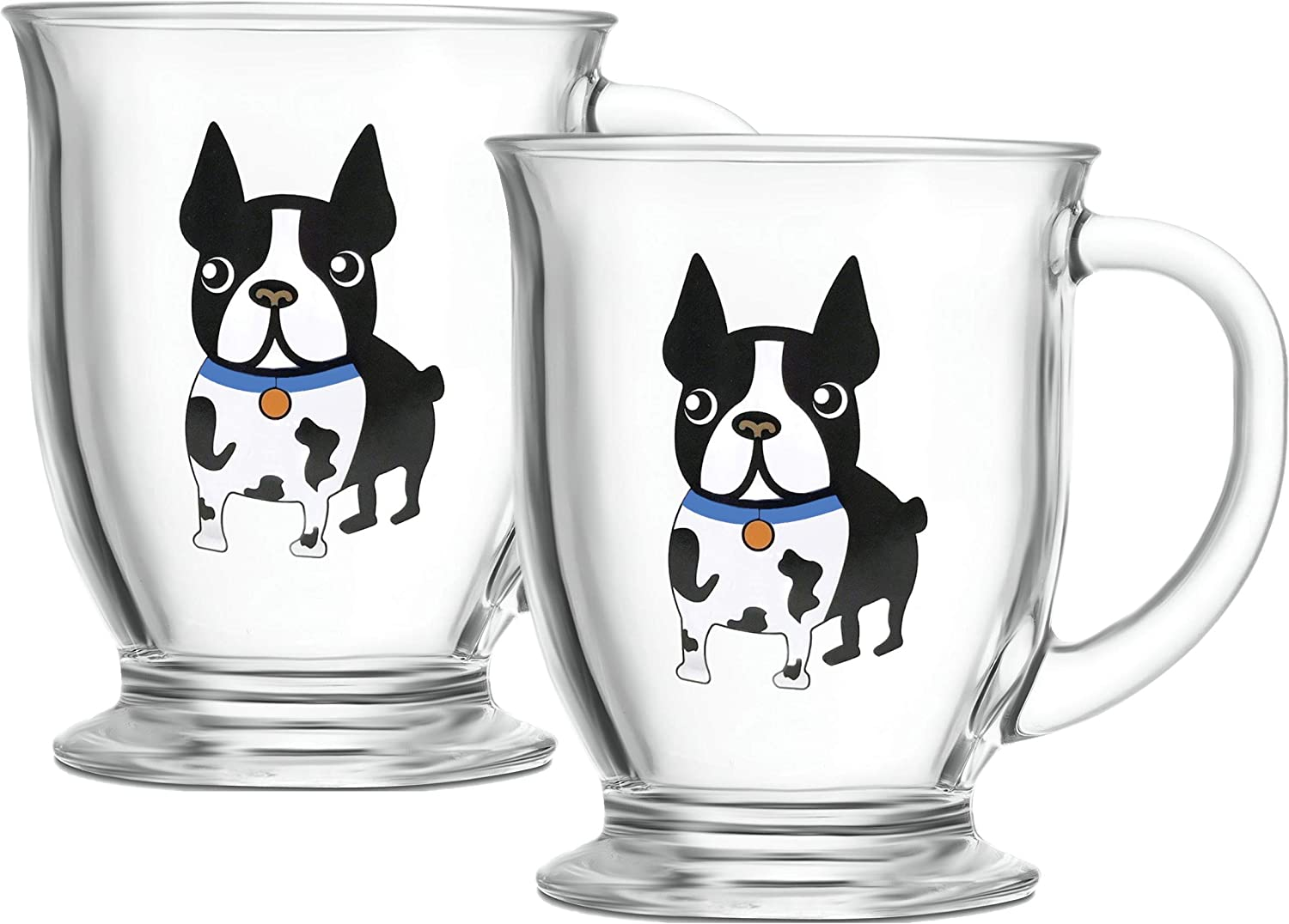 Circleware Boston Terrier Coffee Mug with Handle, Set of 2 Glasses Entertainment Home & Kitchen Beverage Dining Glassware for Water, Beer, Wine, Whiskey, Juice and Drinks, 16 oz, Blue
