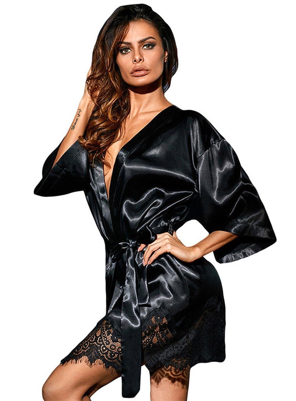 Chiguo Women Nightwear Luxurious Black Satin Robe Belt Sleepwear Bridal  Sexy Lace Lingerie For Ladies  Amazon.co.uk  Clothing e70cb49ef