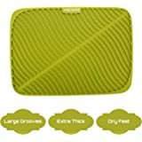 Silicone Drying Mat | Maconee Dish Drying Mat For Kitchen, Thick Counter Mat With Deep Grooves, Dry Faster & Easy Letting The Water Out, Extra Thickness, Green