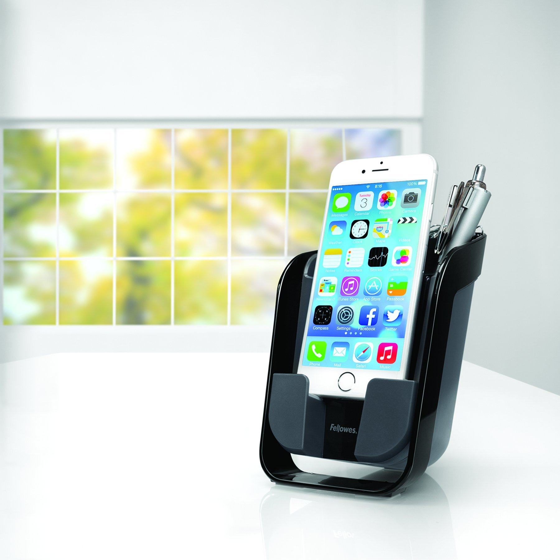 Fellowes I-Spire Series Pencil & Phone Station Smartphone Stand, Black (9473201)