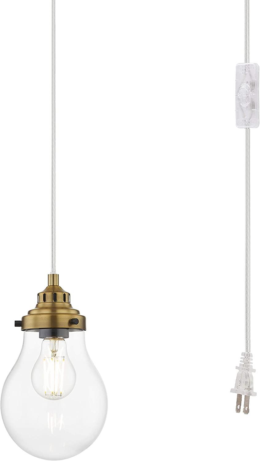 WOXXX Mini Globe Plug in Pendant Light Fixture, Gold Hanging Pendant Lighting Plug in for Kitchen Island, Modern Ceiling Light with Clear Glass Shade Swag Lights with Plug in Cord and On/Off Switch