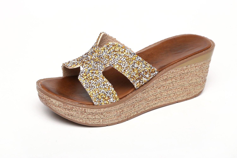 GTVERNH golden 7.5cm bene le pantofole donna summer - piattaforma spessa in spiaggia scarpe pantofole di antiscivolo china tacco con…