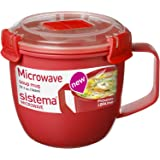 Sistema 1142 Small Microwave Cookware Soup Mug, 19.1 oz, Red