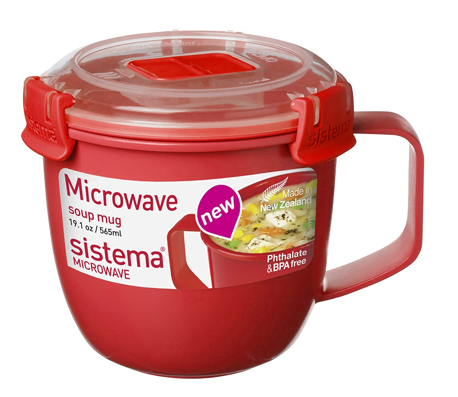 Sistema 1141 Large Microwave Cookware Soup Mug, 30.4 oz, Red 1141ZS