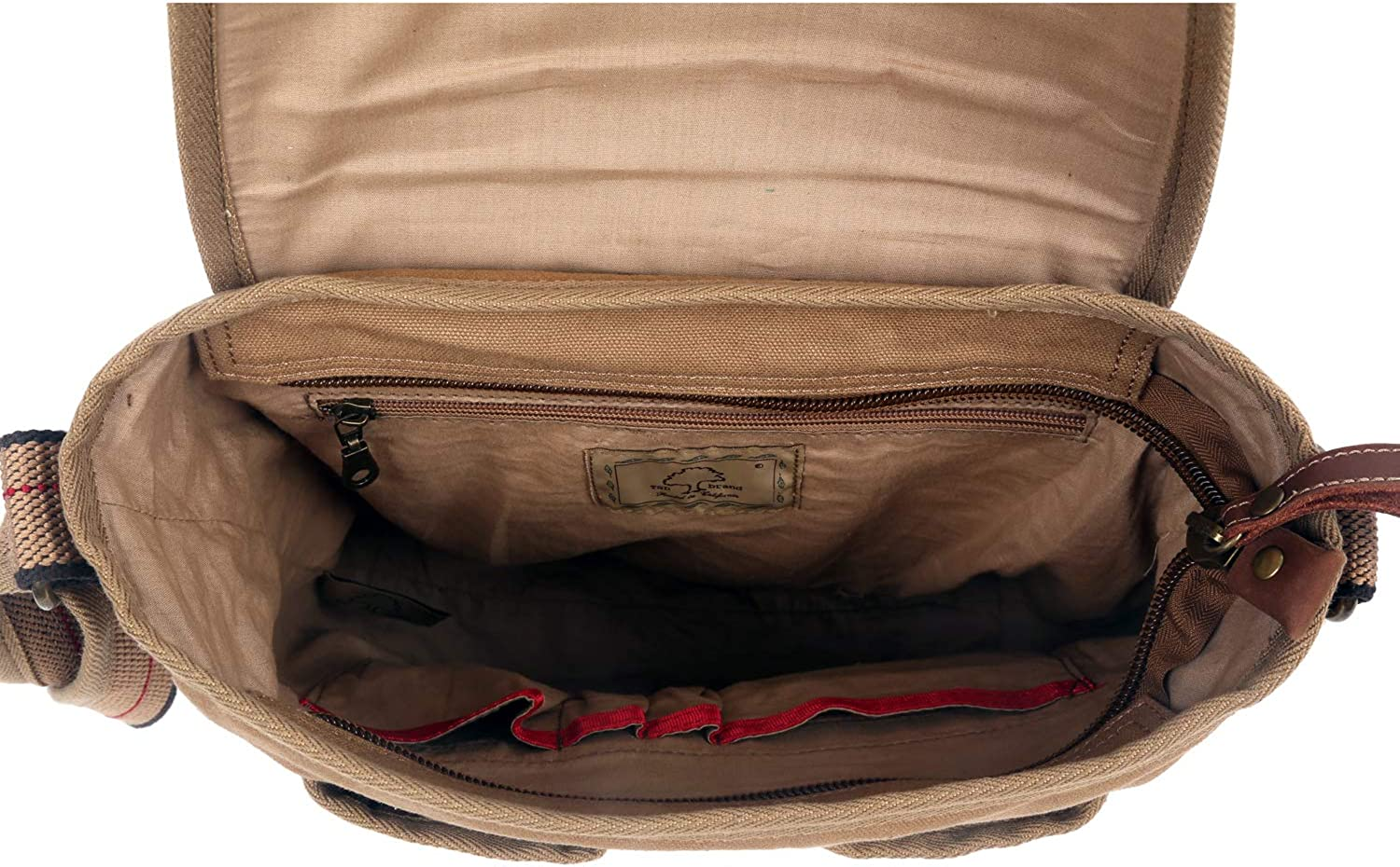 The Same Direction Turtle Ridge 4 Pocket Crossbody Leather and Canvas Bag