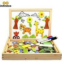 infinitoo Puzzle en Bois MagnéTique 100 PièCes Jouets Educatifs avec Planche à Dessin, Forme d'animal | Graffiti et Création pour Enfants 3 Ans et Plus, Usage Domestique ou dans Les Ecoles,etc.