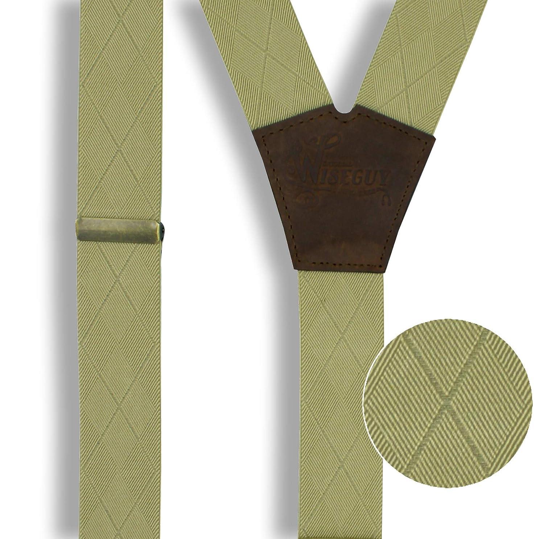 Wiseguy M Bretelle in pelle marrone con motivo a scacchi 3,3 cm