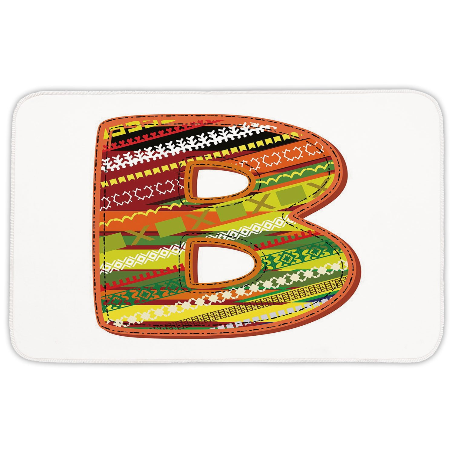 Rectangular Area Rug Mat Rug,Letter B,Winter Season Inspired Typing Tool Art Design Digitally Made Multicolor Palette Decorative,Multicolor,Home Decor Mat with Non Slip Backing