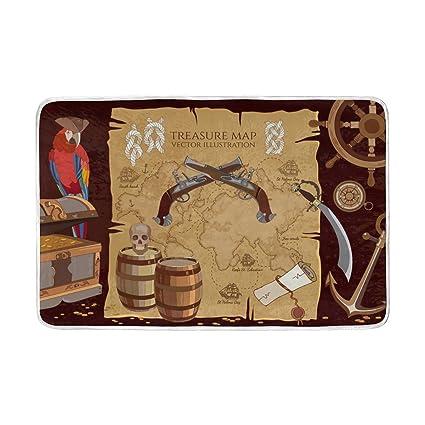 Amazon com: ALAZA Old Pirate Treasure Map Treasure Chest