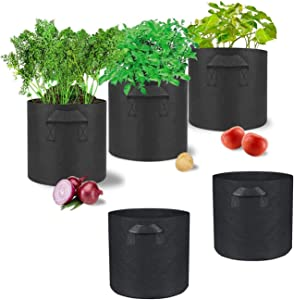 SONYANG 5 Pack Grow Bags for Plant Flower Vegetable Fruit Seedling Grow Bags, Thichkened Non-Woven Aeration Fabric Pots Container with Handles (5 Gallon)