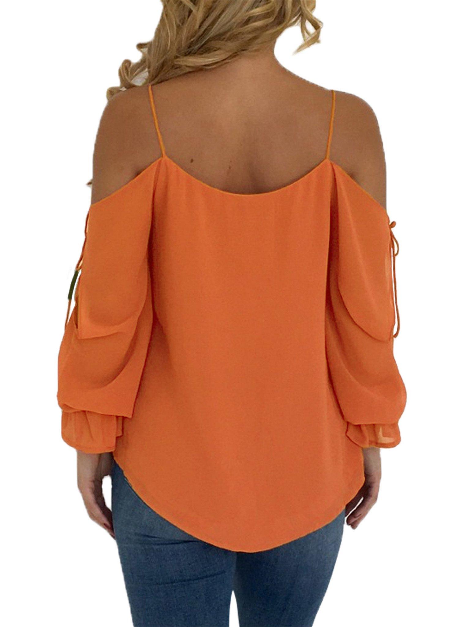 Blibea Womens Spaghetti Strap Loose T Shirts Off Shoulder Blouse Long Flared Ruffled Sleeve Shirts Elegant Tee Tops Medium Orange by Blibea (Image #2)
