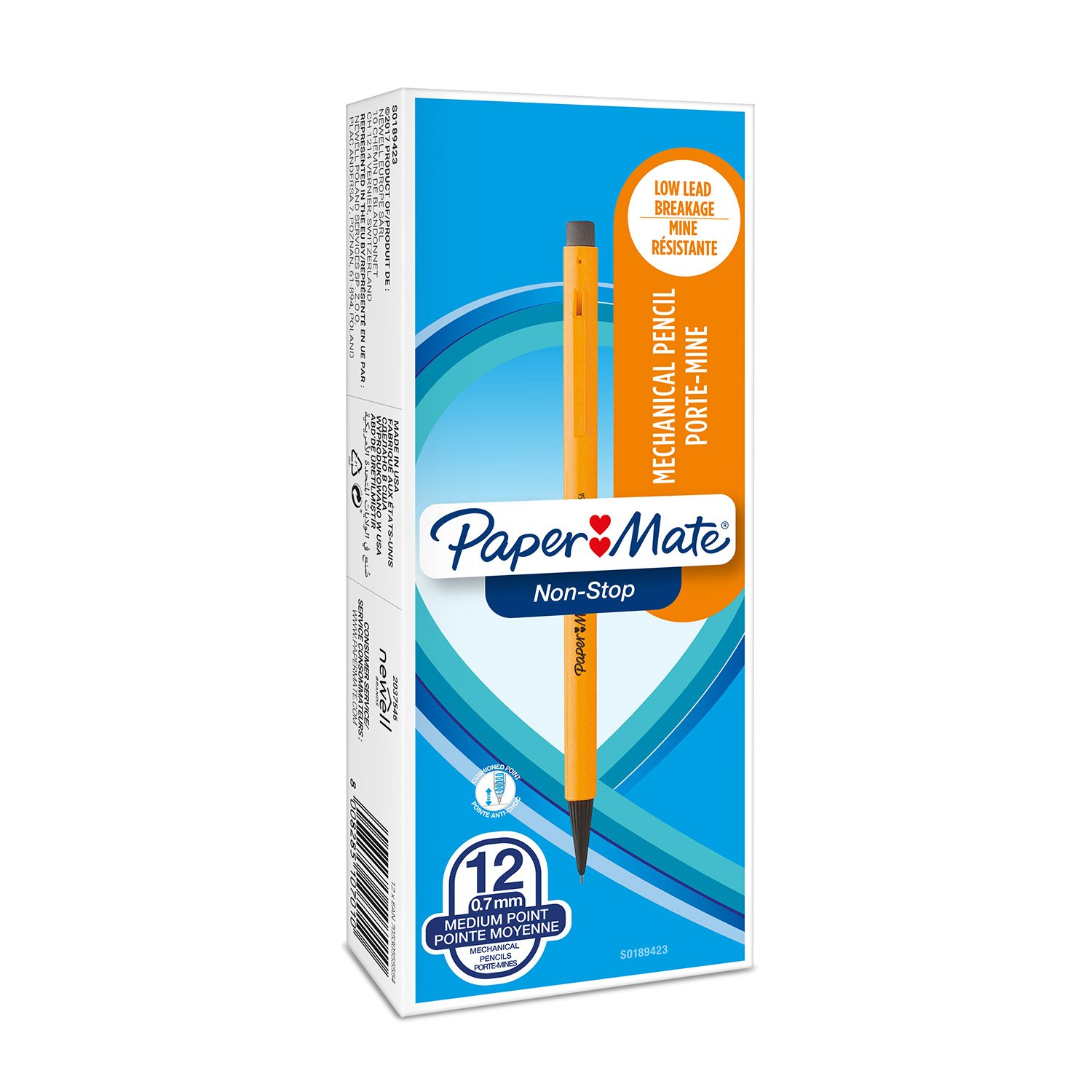 PaperMate 0.7 mm Non-Stop Mechanical Pencil, HB #2, Yellow Barrel, Box of 12