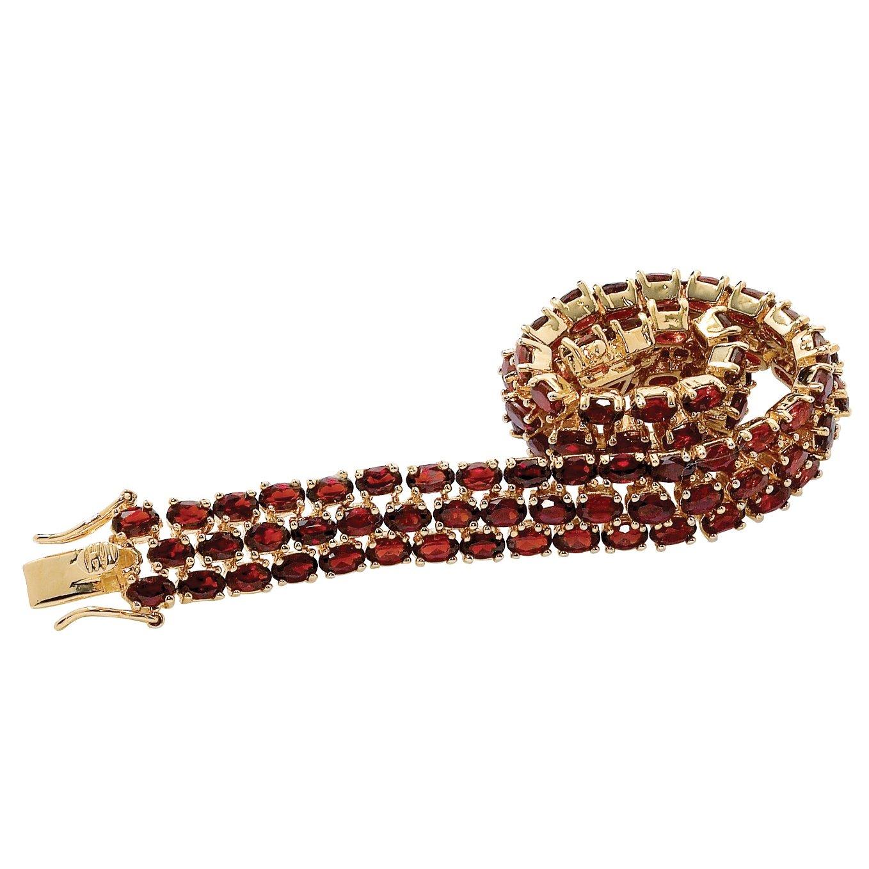Palm Beach Jewelry Oval-Cut Genuine Red Garnet 14k Gold-Plated Triple-Row Tennis Bracelet 7.25''