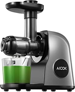 Juicer Machines, Aicok Slow Masticating Juicer Extractor Easy to Clean, Quiet Motor & Reverse Function, BPA-Free, Cold Press Juicer with Brush, Juice Recipes for Vegetables and Fruits, Galaxy Gray