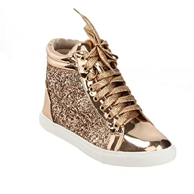 ad7495b349be LINK FP11 Girl s Glitter Lace Up Ankle High Top Fashion Sneakers