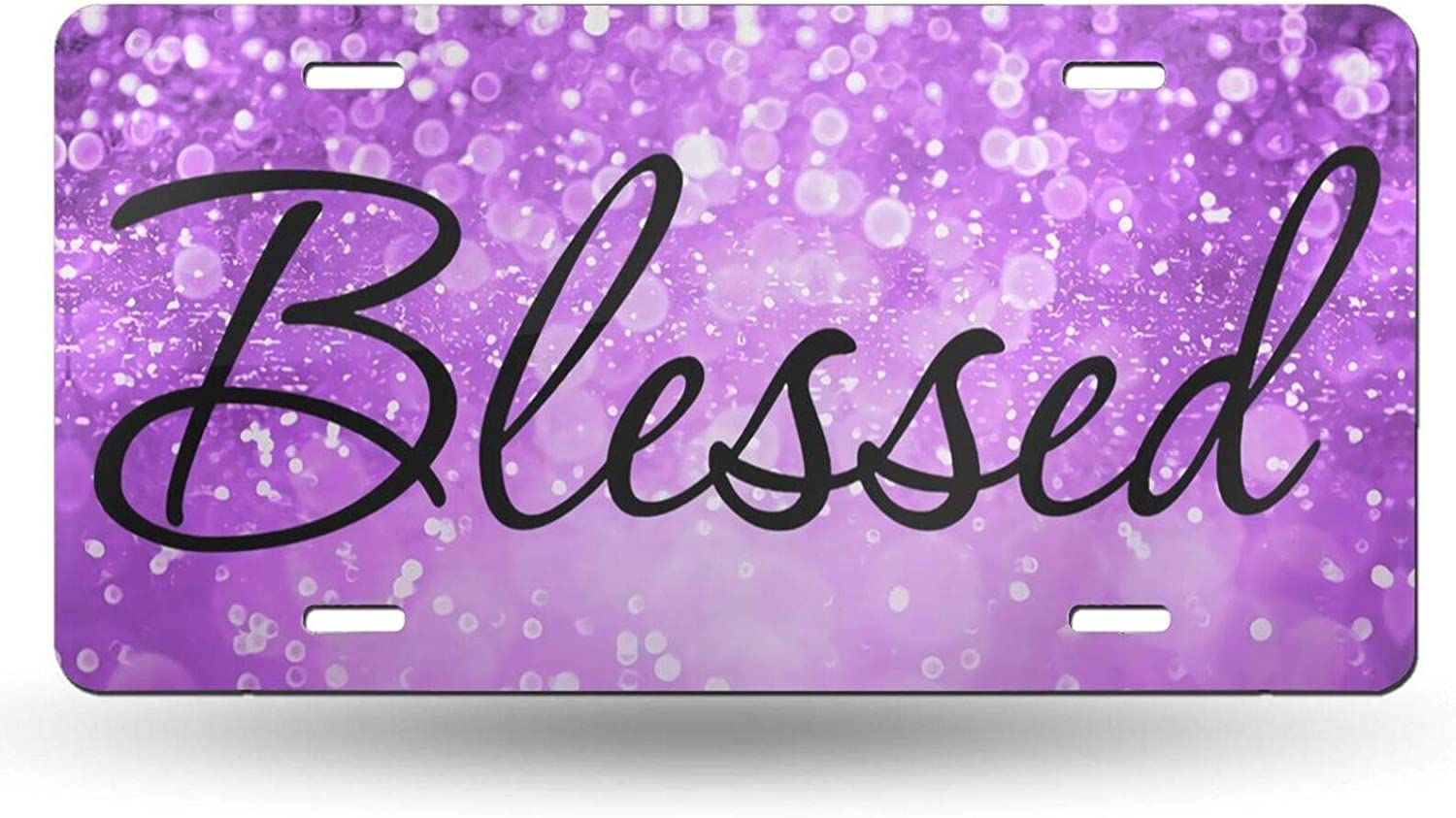 Christian Religious Blessed Purple Glitter Bling Blessed Decorative Car Front License Plate Vanity Tag Car Plate Aluminum Novelty License Plates for Men/Women/Boy/Girls Car - 6 X 12 Inch (4 Holes)