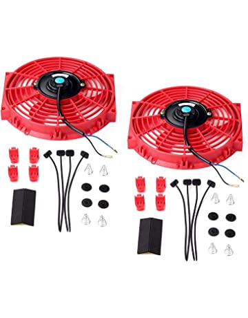 Set of 2 Universal 10 inch Slim Fan Push Pull Electric Radiator Cooling 12V Mount Kit