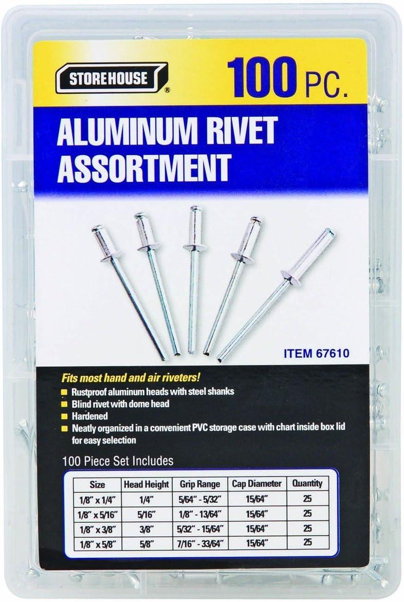 ISPINNER 180pcs 6 Sizes Aluminum Blind Rivets Pop Rivets Assortment Kit