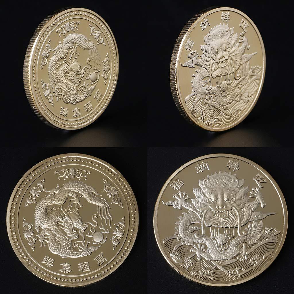 JIACUO Moneda Conmemorativa Colecci/ón auspiciosa de Estilo Chino Regalos de Arte Recuerdo