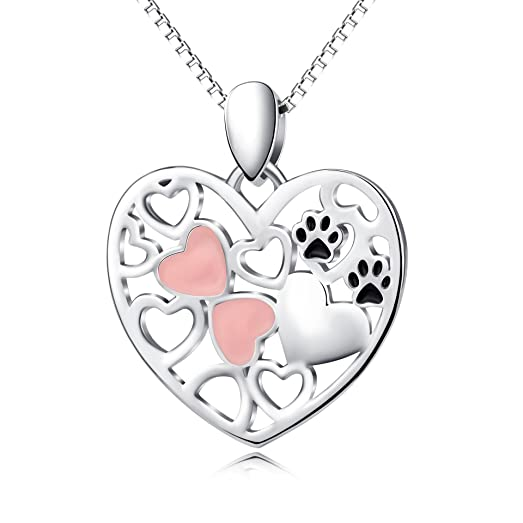 Amazon paw print necklace sterling silver pet love pink heart paw print necklace sterling silver pet love pink heart pendant necklace aloadofball Gallery