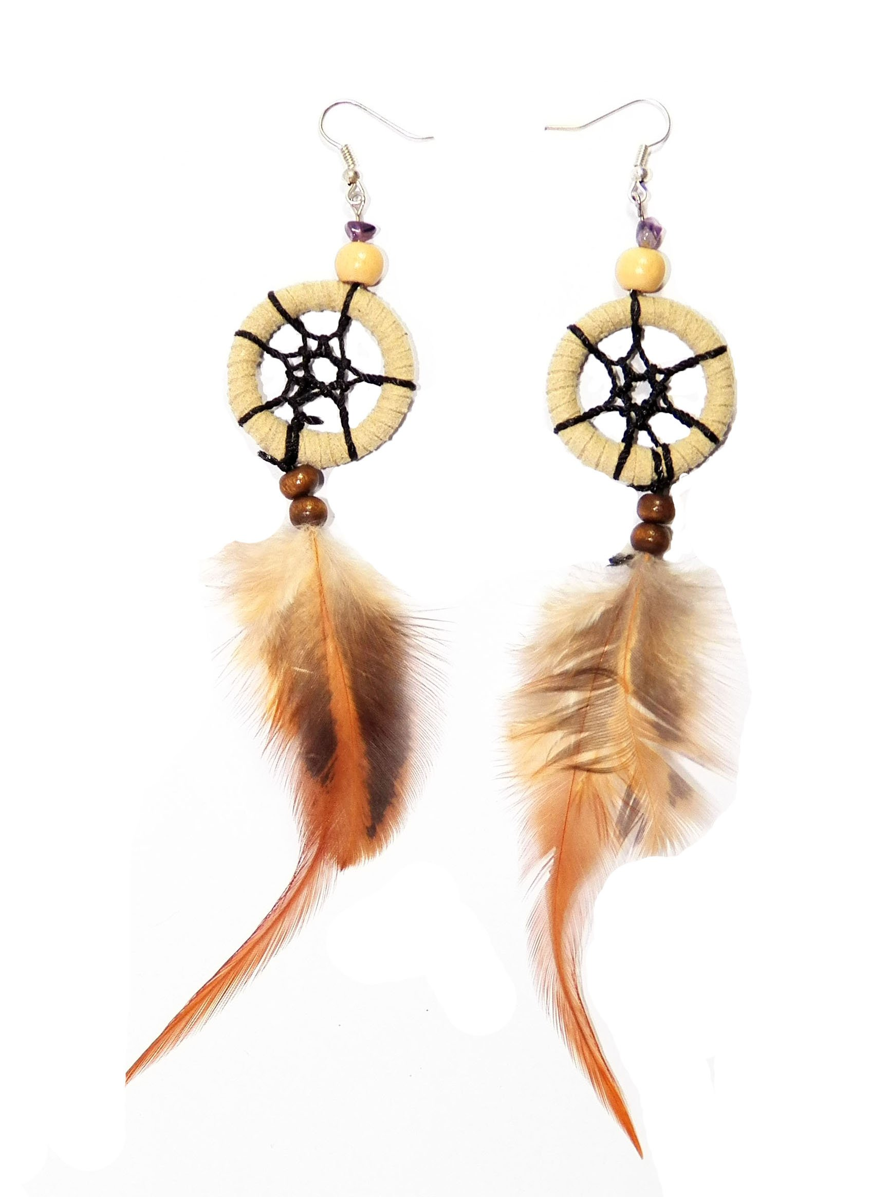 Dream Catcher Earrings Handmade Dangle Earrings Suede Leather Feather Natural (DCE10002) by PTN Dream Catcher (Image #1)