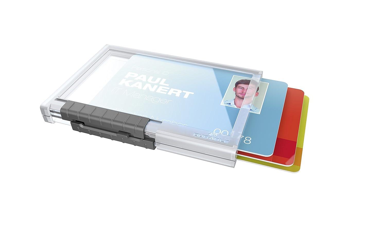 cordoncino in tessuto 1 tessera Portabadge Pushbox Mono comparti separati trasparente levette scorrevoli DURABLE 892719 confezione da 10 pezzi