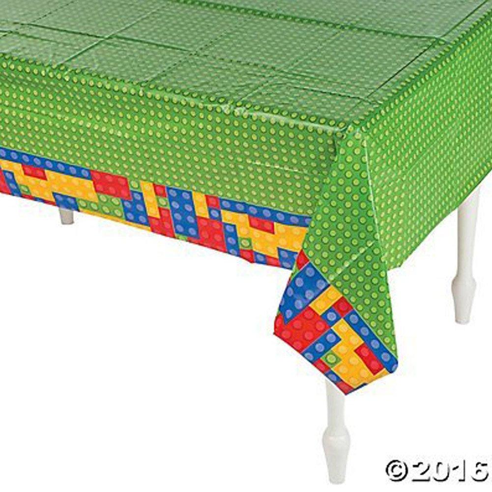Plastic Color Brick Party Tablecloth Image 1