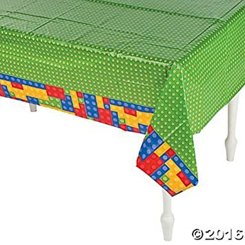 Plastic Color Brick Party Tablecloth   54u0026quot; ...