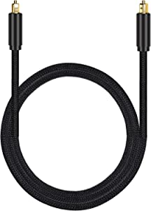 Proster Optical Toslink Digital Audio Cable Master Gold Fiber Optic Audio Cable Home Theater Fiber (1M OD 7.0mm)- Suitable for PS3 Sky SkyHD Plasma Blu-ray Home Cinema Systems AV Amps Black