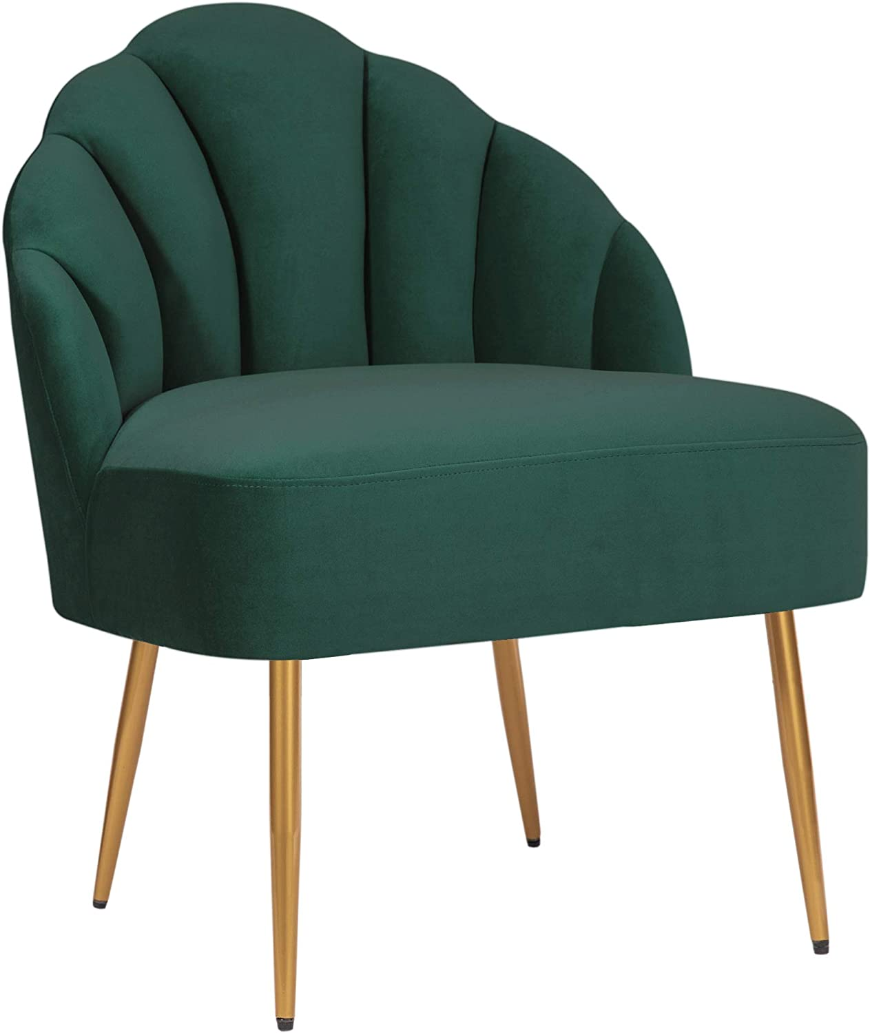 "Amazon Brand – Rivet Sheena Glam Tufted Velvet Shell Chair, 23.5""W, Emerald"