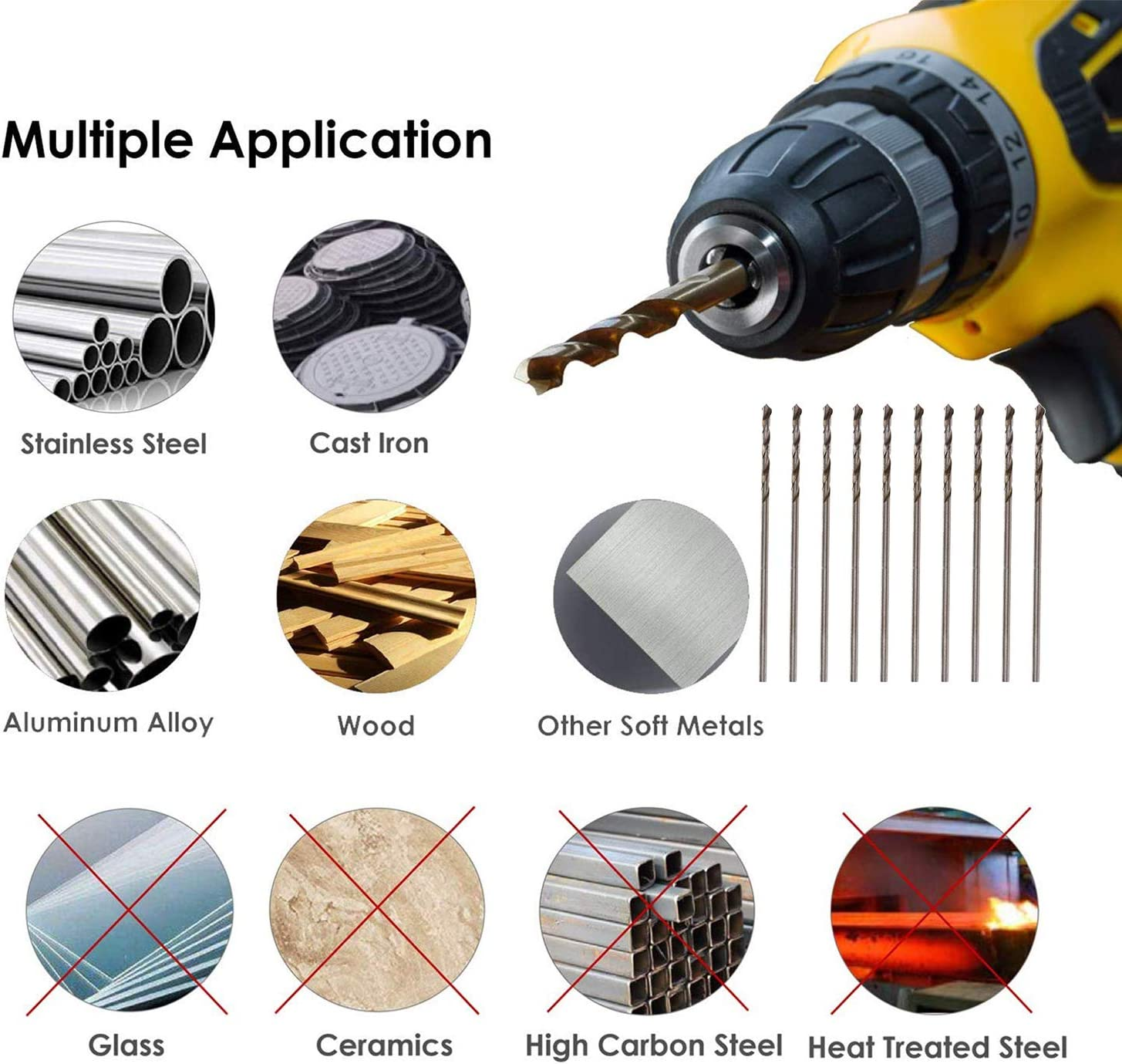 uxcell 10 Pcs Split Point High Speed Steel Fully Ground Micro Twist Drill Bits 1mm
