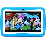 LLLccorp 7 inch Kids Education Tablets RK3126 Quad core Android 5.1 with Games, Dual Cameras, Wi-Fi, Google Play Store, Children World 3 PIN UK Charger (Dark Blue)