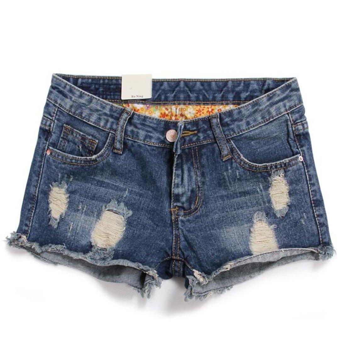 Weigou Women Short Jeans Retro Hole Burr Loose Large Size Women Shorts Fenim Low Waist Shorts (M(Size 28), Blue)