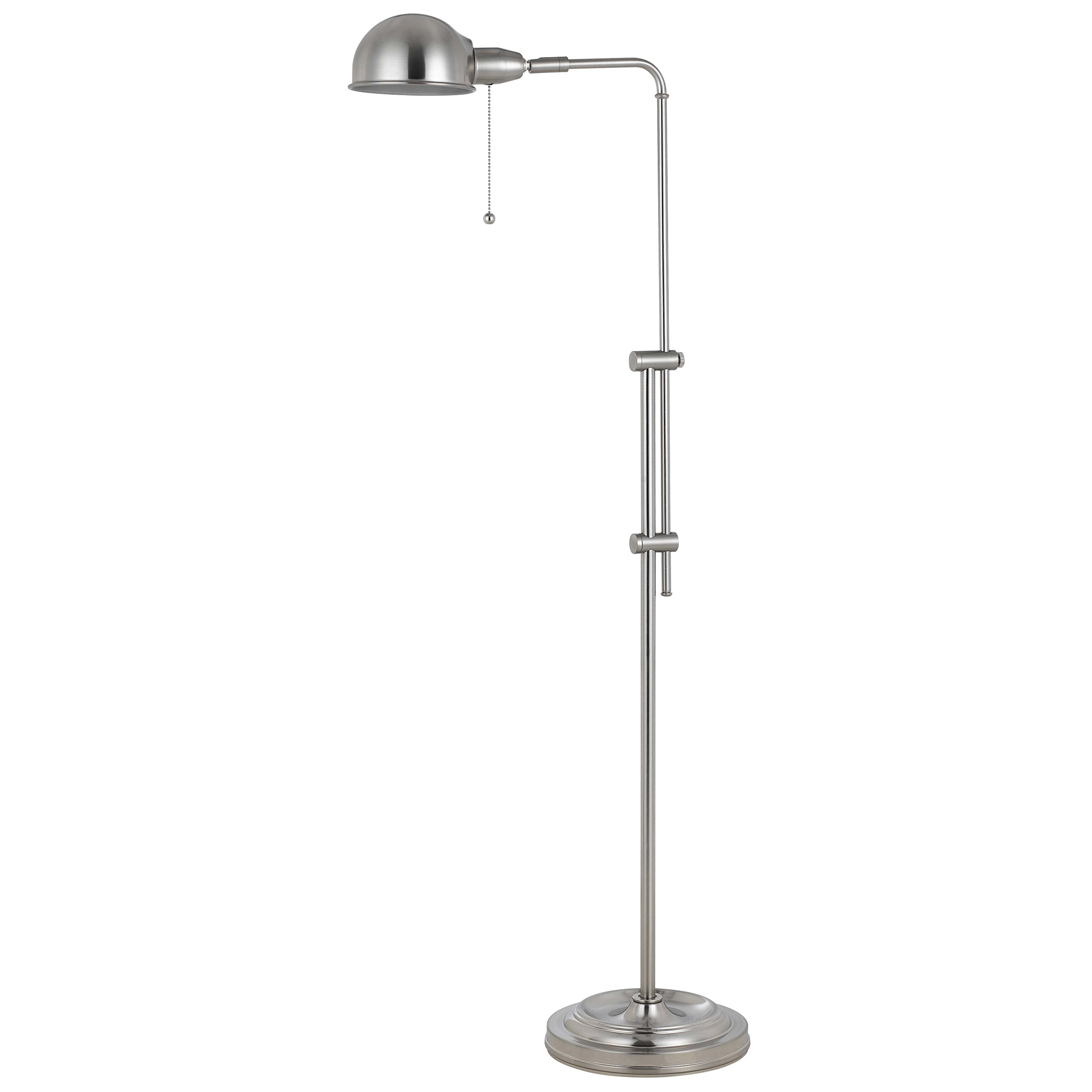 58-Inch Rustic Adjustable Pharmacy Floor Lamp with Pull-Chain Switch for Reading Corner - Brushed Steel Finish