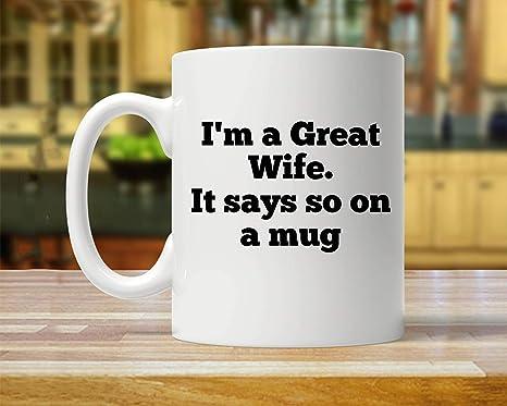 Amazon Com Wife Mug Gift For Wife Wife Mugs Funny Wife Gift Wife Gift Gifts For Wife Funny Wife Mug Wife Great Wife Mug Wife Coffee Mug Thanksgiving Day Gifts Christmas Gift 11 Oz Kitchen
