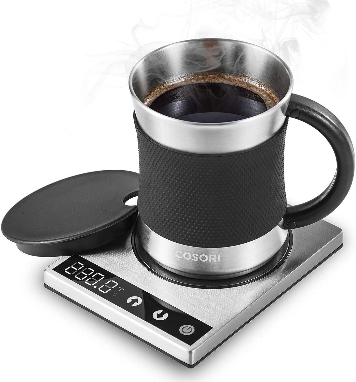 Cosori Coffee Mug Warmer & Mug Set Premium 24Watt Stainless Steel, Best Gift Idea, Office/Home Use Electric Cup BeveragePlate,Water,Cocoa,Milk